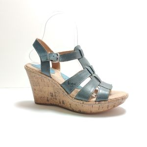 BOC Blue Leather Strappy Cork Wedge Sandals 6